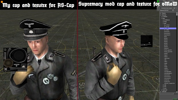 "Comparison my SS-cap and ""Supremacy mod"" cap"