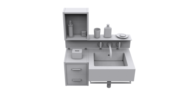 3d bath room sink