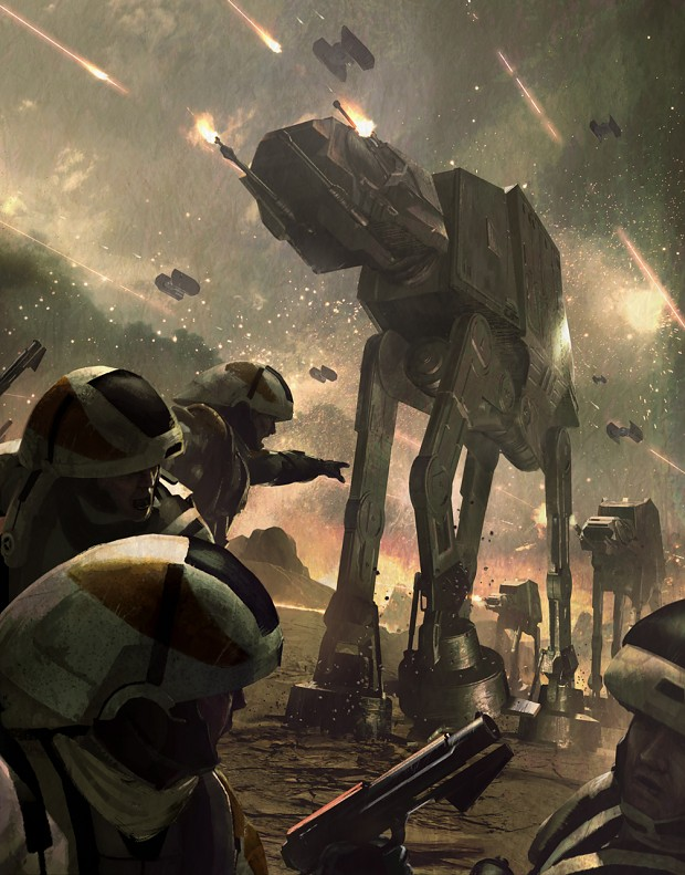 AT-AT's pummeling Rebel Troops