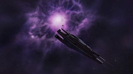 Alliance Cruiser with fighter escort