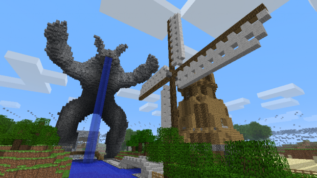 Minecraft statue and windmill
