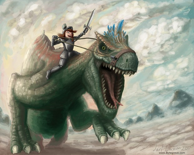 Artwork, dragon rider
