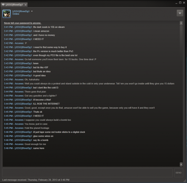 Random steam convo