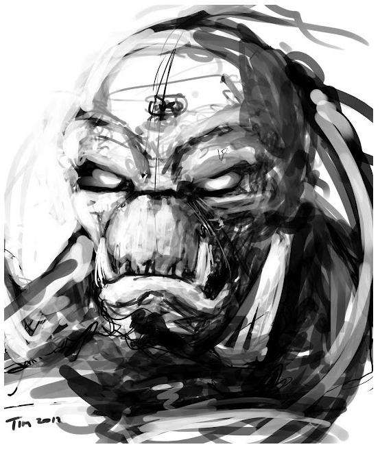 Unreal_Series _ Skaarj _ Drawing_Black_White