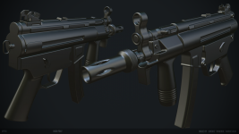 MP5K High Poly WIP by Raminul