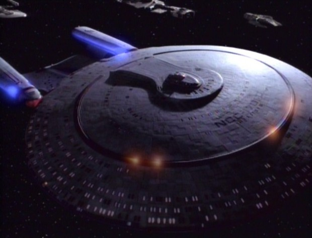 USS Enterprise-D fires it's dorsal phasers