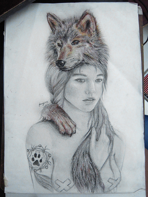 Girl and wolf sketch