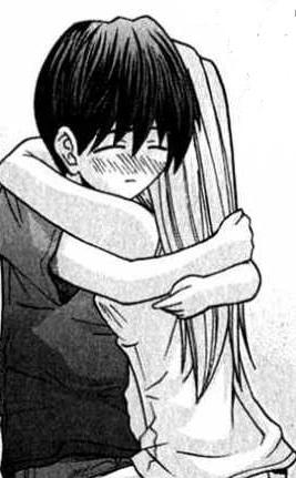 Kouta and Nyu hugging