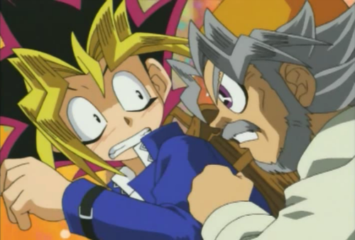 Yugi scared from his Grandpa