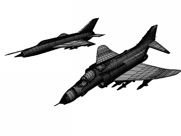 MIG 21 and F4 Wireframe