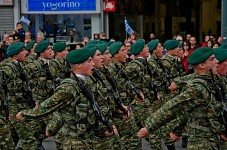 Greek soldiers wearing their woodland uniforms