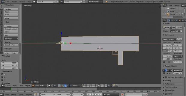Machine gun model blender