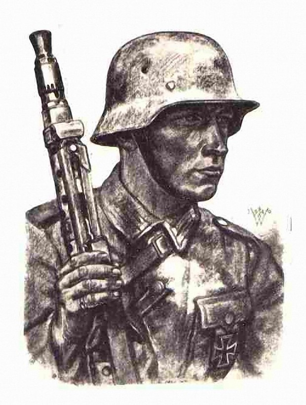 A German soldier drawing
