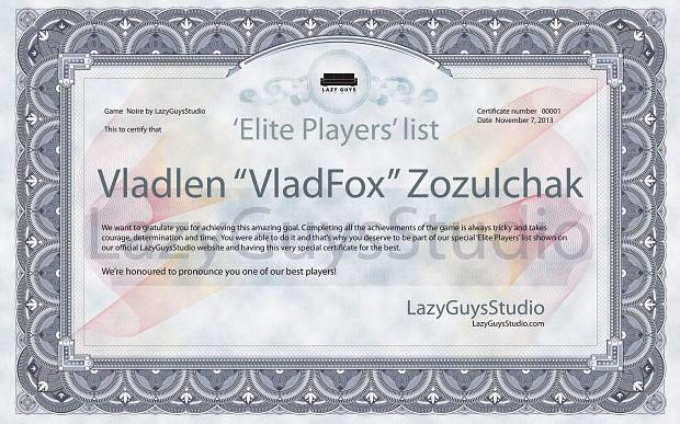 Noire Certificate
