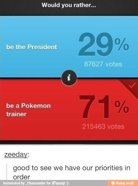 Being a Pokemon Trainer vs. being president