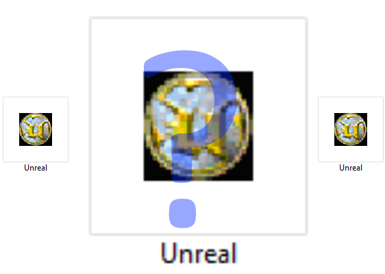 Unreal Icon with Question Mark
