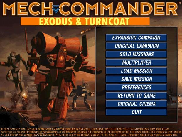 MechCommander MainMenu design and covers