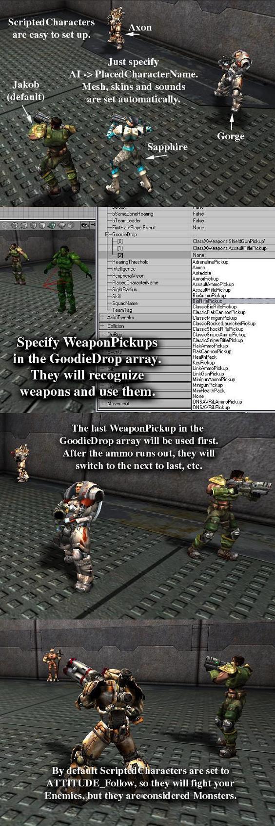 scriptedCharacter features