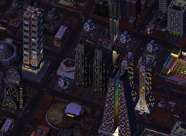 SimMars Beta 3 - Downtown at night