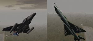 F4 Phantom and Mig-21 dogfight