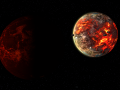 Volcanic Planet + Magma Moon