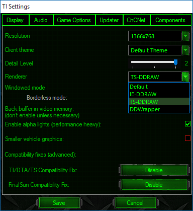 Client: Additional Renderer and Compatability Settings