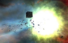 Borg cube explodes due to massive Federation attac