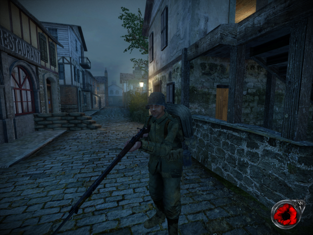 German soldier in the streets of Longueval