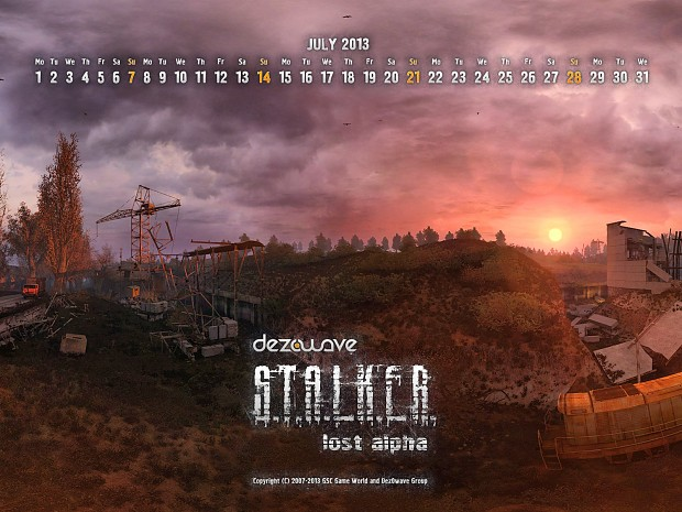 Lost Alpha calendar for July 2013