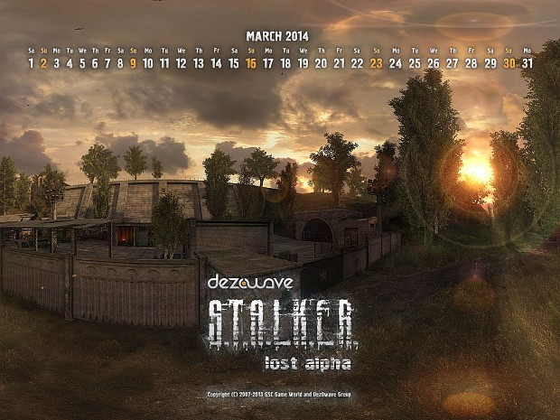 Lost Alpha Calendars, March, 2014.