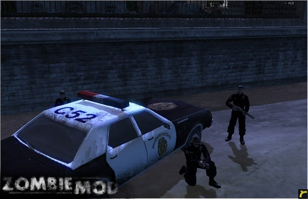 Policemen and Squad Car