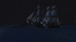 Sailing side by side in the rain