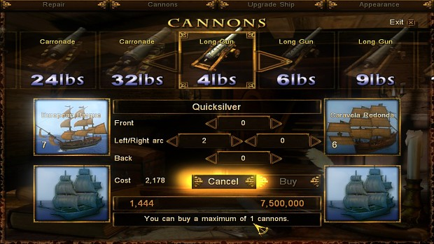 Buy/Sell Cannons Interface