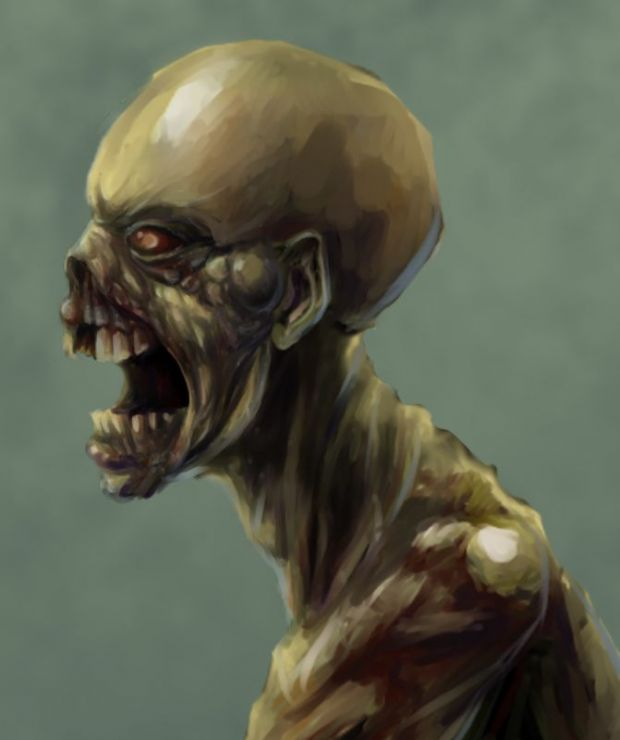 Zombie Male Head, Side View