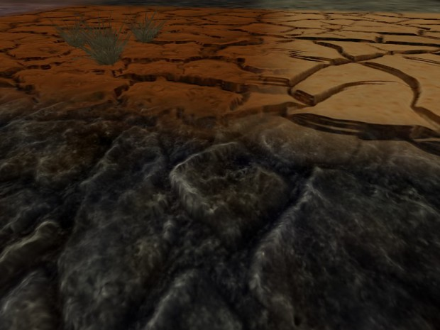 Terrain drawn with reliefmapping