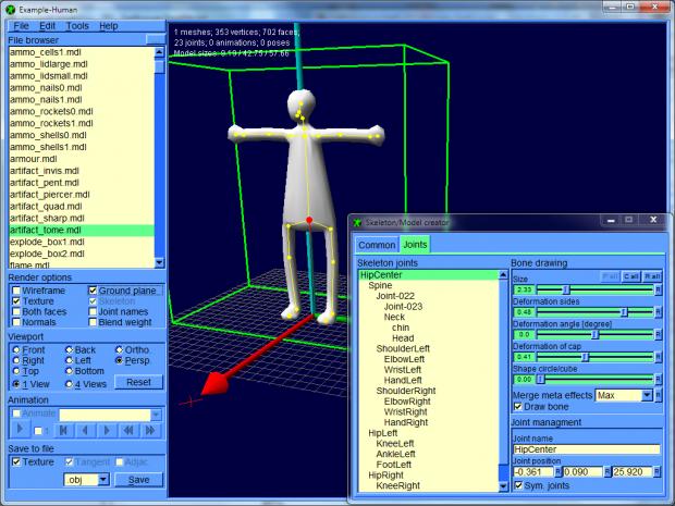 IqeBrowser V2.13 Model creator, human example