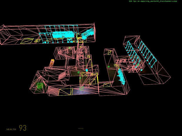 A wireframe view of the train tunnels in Sector42