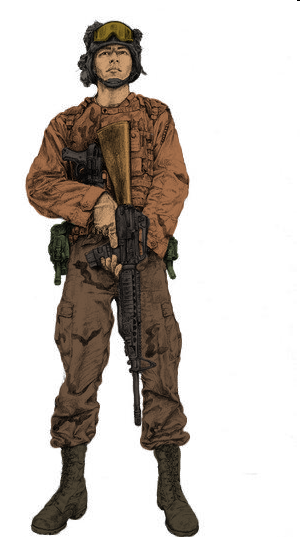 Soldier Concept, Colored. Platoon in New Mexico