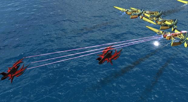 Twilight Patron squadron intercepting Seraphim Penetrators