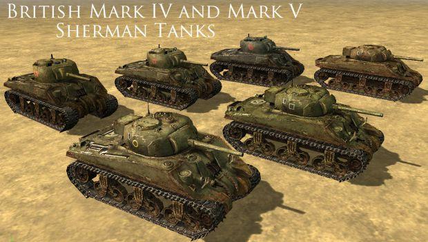 British Mk IV and Mk V Shermans