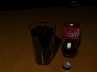 Coke in a cup in a bottle.