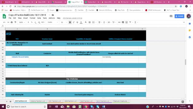 ASI Build List 4/8