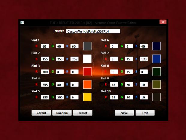 Vehicle Color Palette Editor [Rev.5]