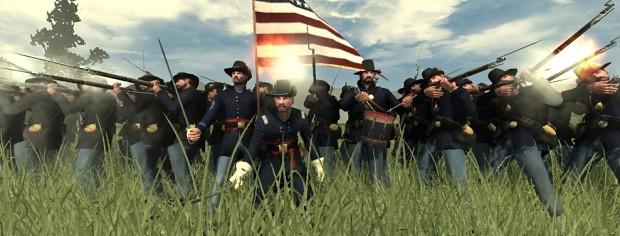 Michigan Volunteers (in Hardee hats) in action