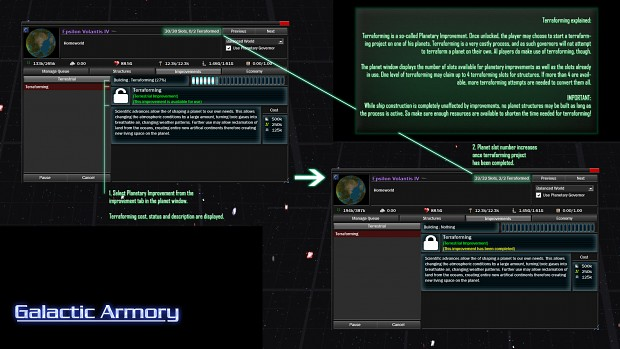 Terraforming and Planetary Improvement Interface