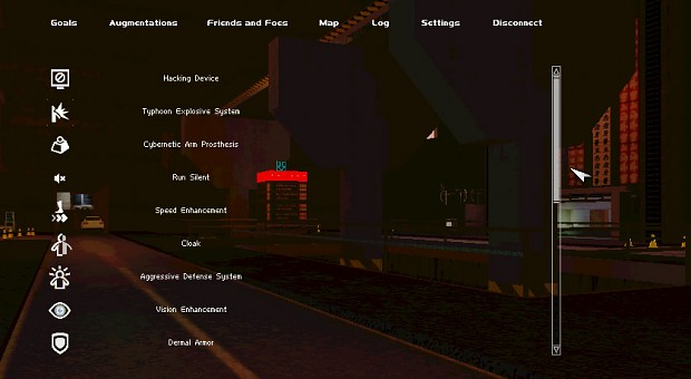 The Augmentations guide, part of the Player's HUD