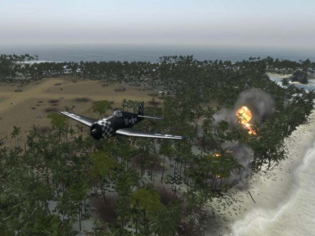 Bombing Peleliu beach.
