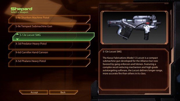 Loadout Screen - Available Loadouts