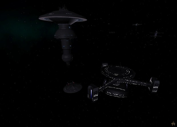 USS Melbourne docked at a trading station