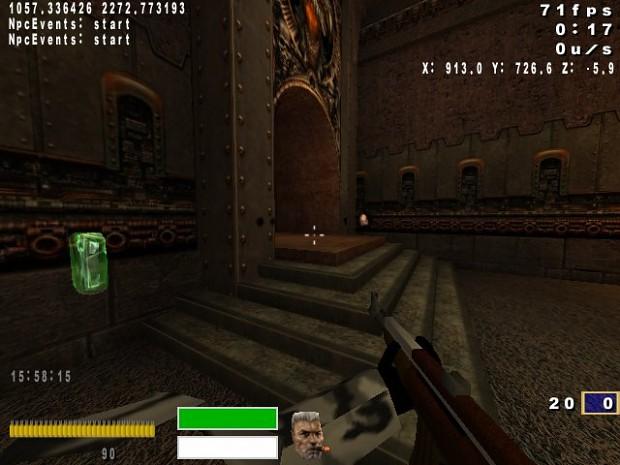 Mr. Armor Shard firing his invisible gun.